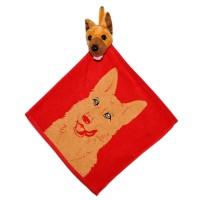 """Полотенце с головой собаки, кухонное, махровое """"Овчарка"""", цвет красный"""