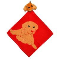 """Полотенце с головой собаки, кухонное, махровое """"Хочу играть"""", цвет красный"""