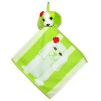 """Полотенце с головой собаки, кухонное, махровое """"Собачка с розочкой"""", цвет зеленый"""