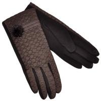Перчатки женские для сенсорных экранов, комбинированные (brown)