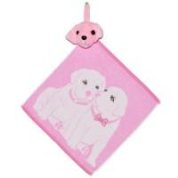 """Полотенце с головой собаки, кухонное, махровое """"Щенки"""", цвет розовый"""