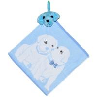 """Полотенце с головой собаки, кухонное, махровое """"Щенки"""", цвет голубой"""