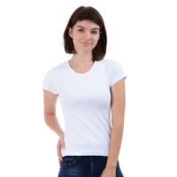 Женская однотонная футболка из хлопка, белая (эконом)