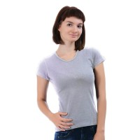 Женская однотонная футболка из хлопка, светло-серая (эконом)