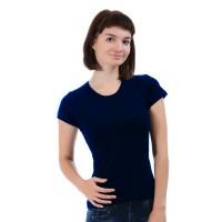Женская однотонная футболка из хлопка, темно-синяя (эконом)