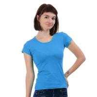 Женская однотонная футболка из хлопка, голубая (эконом)