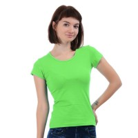 Женская однотонная футболка из хлопка, светло-зеленая (эконом)