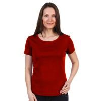 Женская однотонная футболка из хлопка, бордовая (эконом)