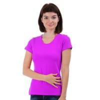 Женская однотонная футболка из хлопка, фуксия (эконом)