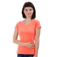 Женская однотонная футболка из хлопка, коралловая (эконом)
