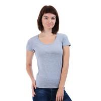 Женская однотонная футболка из хлопка, светло-серый меланж (эконом)