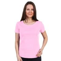 Женская однотонная футболка из хлопка, светло-розовая (эконом)