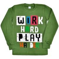 "Толстовка детская ""Work hard play"" (green)"