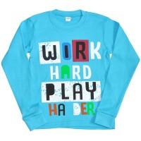 """Толстовка детская """"Work hard play"""" (blue)"""