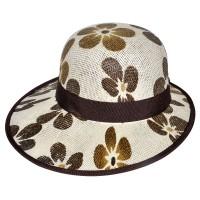 "Шляпа женская, плетеная ""Цветы"" -06"
