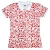 Рубашка-поло женская с красным узором (Doston)