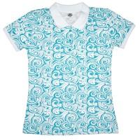 Рубашка-поло женская с бирюзовым узором (Doston)