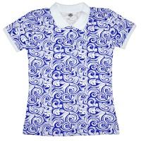 Рубашка-поло женская с синим узором (Doston)
