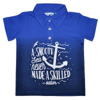 """Рубашка-поло детская """"A smooth sea never made a skilled"""""""