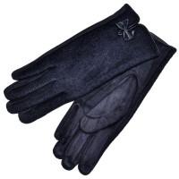 """Женские перчатки для сенсорных экранов, комбинированные """"Бантик"""" (d-blue)"""