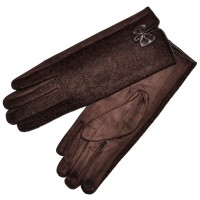 """Женские перчатки для сенсорных экранов, комбинированные """"Бантик"""" (brown)"""