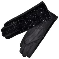 """Перчатки женские, комбинированные """"Блестки"""" (black)"""