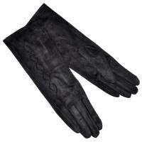 """Удлиненные женские перчатки """"Вьюнок"""" (black)"""