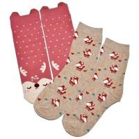 """Носки женские """"Kawaii"""" (red deer) комплект 2 пары"""