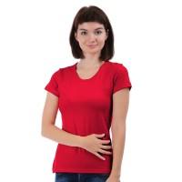 Женская однотонная футболка из хлопка, алая (эконом)