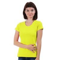 Женская однотонная футболка из хлопка, лимонная (эконом)