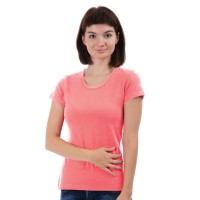 Женская однотонная футболка из хлопка, светло-коралловая (эконом)