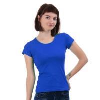 Женская однотонная футболка из хлопка, синяя (эконом)
