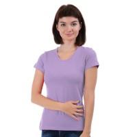 Женская однотонная футболка из хлопка, сиреневая (эконом)