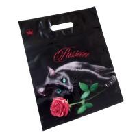 """Пакет подарочный """"Кошка с розой"""