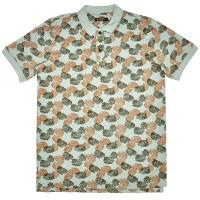 """Рубашка поло бледно-зелёная """"Листья"""" (Samo)"""