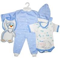 """Набор для новорожденного """"Пингвиненок"""" (голубой)"""