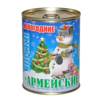 """Новогодние носки в банке """"Армейские"""" (снеговик)"""