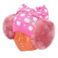 Наушники детские, меховые (темно-розовый)