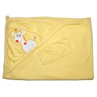 """Детское полотенце с капюшоном, махровое """"Жираф"""" (желтый)"""