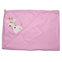 """Детское полотенце с капюшоном, махровое """"Жираф"""" (розовый)"""
