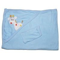 """Детское полотенце с капюшоном, махровое """"Жираф"""" (голубой)"""