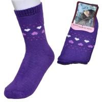 """Носки женские, махровые """"Сердечки"""" (фиолетовый)"""