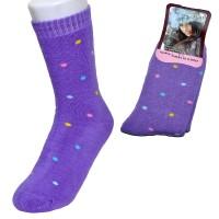 """Носки женские, махровые """"Горошек"""" (фиолетовый)"""