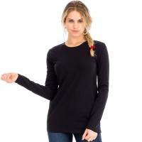 Футболка женская с длинным рукавом (черный)