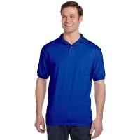 """Рубашка-поло однотонная с карманом """"Эконом"""", синяя"""