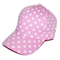 Бейсболка женская подростковая, в горошек (розовый)