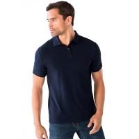 "Рубашка-поло однотонная ""Браво"", темно-синяя"