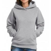 Толстовка Кенгуру с капюшоном и карманами женская (серый меланж)