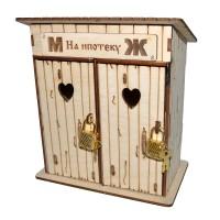"""Копилка-туалет деревянный """"На ипотеку (м/ж)"""""""