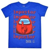 """Футболка подростковая """"Among Us, Impostor"""" (синий)"""